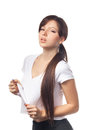 Close up of a tired young woman over white background portrait sporty look after workout isolated on Royalty Free Stock Image