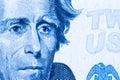 Close up to Andrew Jackson portrait on twenty dollar bill. Toned Royalty Free Stock Photo