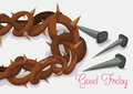 Close-up to Crown of Thorns and Rusty Nails for Good Friday, Vector Illustration