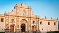 Close up to Saint James Cathedral in Central Square, Antigua, Guatemala Royalty Free Stock Photo