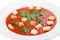 Close up of tomato soup with croutons Royalty Free Stock Photo