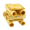 Close up Tong Muan rolled wafer and cracker Thailand as robot isolated Royalty Free Stock Photo