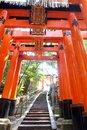 Close up of torii gate gates at fushimi inari shrine in kyoto japan fushimi inari shrine Stock Image