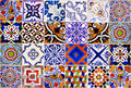 Close up traditional Lisbon ceramic tiles Royalty Free Stock Photo