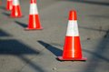 A close up of a traffic cone in the street Royalty Free Stock Photos