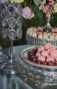 stock image of  Close up of tray with lot delicious diversity pastry cakes tattlers and macaroon in a row