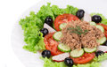 Close up of tuna salad whole background Royalty Free Stock Photography