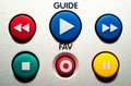 Close up TV remote colorful buttons. Royalty Free Stock Photo