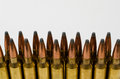 Close-up of two rows of bullets with white space Royalty Free Stock Photo