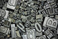 Close up of typeset letters Royalty Free Stock Photo