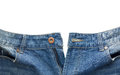 Close up of unbuttoned blue jean isolated on white background Royalty Free Stock Photo