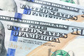 Close up of THE UNITED STATES OF AMERICA text on 100 US dollar b Royalty Free Stock Photo