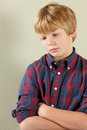 Close up of upset looking young boy Royalty Free Stock Photo