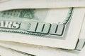 Close up 100 US Dollar Bills Royalty Free Stock Photo