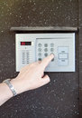 Close-up of uses intercom Royalty Free Stock Image