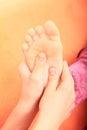 Close up van een young woman getting spa behandeling Stock Foto