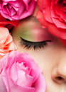Close-up van oog met make-up Stock Fotografie