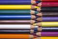 Close up of various color pencils
