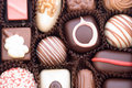 Close up of various colorful chocolat bonbons Royalty Free Stock Photo