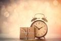 Close-up view at aged alarm clock gift box Royalty Free Stock Photo