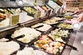 Close up view of an appetizing buffet of prepared meal Royalty Free Stock Photo