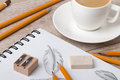 Close-up view of artist`s or designer`s table Royalty Free Stock Photo
