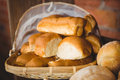Close up view of basket with fresh bread Royalty Free Stock Photo