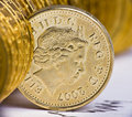Close up view of British currency Royalty Free Stock Images