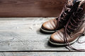 Close up view of brown leather man or woman new dry clean shoes Royalty Free Stock Photo