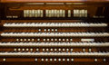 Close up view church pipe organ Royalty Free Stock Photo