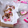 Collection of delicious heart shaped cookies on grey surface Royalty Free Stock Photo