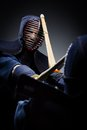 Close up view of competition of two kendo fighters japanese martial art sword fighting Stock Image