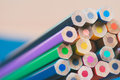 Close up view of crayons. Royalty Free Stock Photo