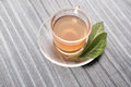 Close up view of a cup of Green tea and leafs on wood talbe Royalty Free Stock Photo