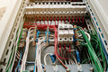 Close up view of electrical panel with fuses and contactors. Royalty Free Stock Photo