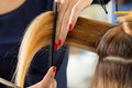 Close up view of female hairdresser hands cutting hair tips Royalty Free Stock Photo