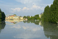 Close up view of flooded gyor town at sunset when danube river reached the maximum water level Royalty Free Stock Photography