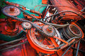 Close up view on gear mechanism of old combine harvester Royalty Free Stock Photo