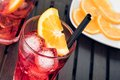 Close-up of view of glasses of spritz aperitif aperol cocktail with orange slices and ice cubes Royalty Free Stock Photo