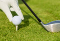 Close up view of golf ball on tee course Royalty Free Stock Images