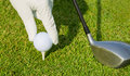Close up view of golf ball on tee course Royalty Free Stock Photography