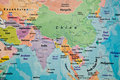 Close up view map asia Royalty Free Stock Photos