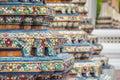 Close up view of mosaic in the ancient wat pho temple , bangkok , thailand Royalty Free Stock Photo