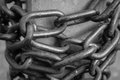 Close-up view of old rusty chain links. Royalty Free Stock Photo