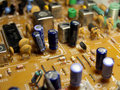 Close up view of pcb tv electronic components Royalty Free Stock Images