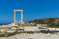 Close up view of Portara, Apollo Temple Entrance, Naxos Island, Greece Royalty Free Stock Photo