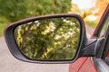 Close-up view of rearview mirror on the car Royalty Free Stock Photo
