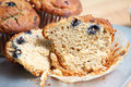 Close up view of sliced open blueberry muffin Royalty Free Stock Image