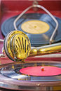 Close up view on speaker of vintage gramophone Royalty Free Stock Photo