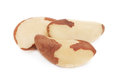 Close-up view on three brazil nut () Royalty Free Stock Photo